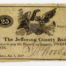 New York, Adams, Jefferson County Bank, 25 Cents, Jan 1, 1817