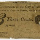 New York, Albany, Corporation of the City of Albany, 3 Cents, January 10, 1815