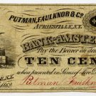 New York, Auriesville, Putnam, Faulknor & Co., 10 Cents, Oct 24, 1862