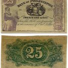 New York, Barrytown, scrip payable at the Bank of Poughkeepsie, 25 Cents, November 1, 1862