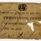 New York, Beekman, Peters and Johnson, 25 Cents, Feb 13, 1815