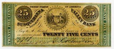 New York, Binghamton, G Collins & Son, 25 Cents, December 10, 1862