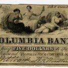 New York, Chatham Four Corners, Columbia Bank, $5, Sept 20, 1861