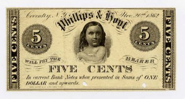 New York, Coventry, Phillips & Hoyt, 5 Cents, Nov 20, 1862
