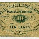 New York, Croton Falls, Aaron Burr Whitlock & Bro., 10 Cents, November, 1862