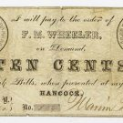 New York, Hancock, F.M. Wheeler, 10 Cents, Oct 28, 1862