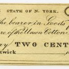 New York, Hartwick, Union Cotton Manufactory, 2 Cents, 18B, (probably 1810s-20s)