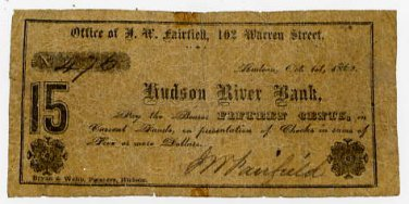New York, Hudson, J.W. Fairfield, 15 Cents, October 1, 1862