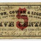 New York, Lodi Locks, (Syracuse), Lighton, Cowan and Lighton, 5 Cents, October 20, 1862