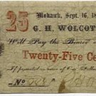 New York, Mohawk, G.H. Wolcott, 25 Cents, September 16, 1862