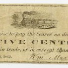 New York, Naples, William Marks Jr., 5 Cents, Sept 22, 1862