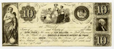 New York, New York, Chappel & Chase's Patent Ox Yoke, $10 advertising note, 185-, (1850s)