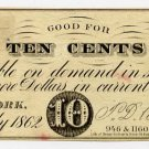 New York, New York, T.D. Kilduff, 10 Cents, July 1862
