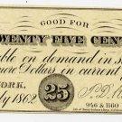 New York, New York, T.D. Kilduff, 25 Cents, July 1862