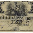 New York, New York, The Merchants Bank, $10, 18--, (late 1830s)