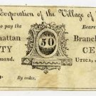 New York, Utica, Corporation of the Village of Utica, 50 Cents, August 1, 1815