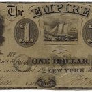 New York, New York, The Empire Bank, $1, July 20, 1852