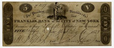 New York, New York, Franklin Bank of the City of New York, $5, Nov 1, 1823