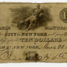 New York, New York, Marble Manufacturing Company of the City of New York, $10, March 20, 1826
