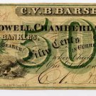 New York, Olean, CVB Barse 50 Cents, November 1, 1862