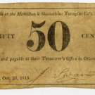 New York, Otisco, Hamilton and Skaneatelas Turnpike Co., 50 Cents, Oct 25, 1815