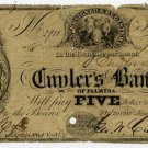 New York, Palmyra, Cuyler's Bank of Palmyra, $5, Jan 1, 1854