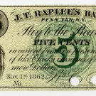 New York, Penn Yan, William C. Joy, 5 Cents, Nov 1, 1862