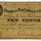 New York, Port Jackson, Voorhees Van Antwerp & Co., 10 Cents, Oct 15, 1862