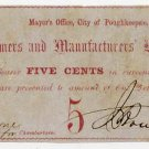 New York, Poughkeepsie, Dutchess County, City of Poughkeepsie, 5 Cents, July 17, 1862