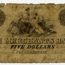 New York, Poughkeepsie, Merchants Bank, $5, March 14, 1854