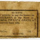 New York, Salina, A Curtiss, 12 Cents, 1818
