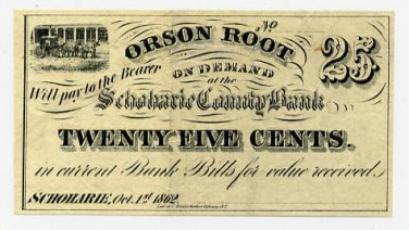 New York, Schoharie, Orson Root, 25 Cents, Oct 1, 1862