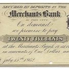 New York, Syracuse, unidentified merchant scrip, 25 Cents, July 15, 1862