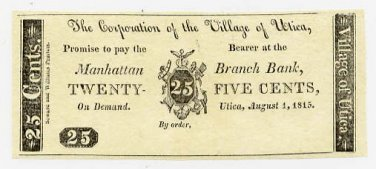New York, Utica, Corporation of the Village of Utica, 25 Cents, August 1, 1815