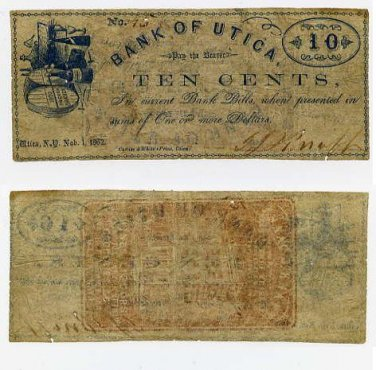 New York, Utica, Issac J. Knapp, 10 Cents, November 1, 1862