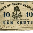 Bank of the State of South Carolina, (Charleston), 10 Cents, June 1, 1862