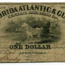 Florida, Jacksonville, Florida Atlantic & Gulf Central Railroad $1, 1860s