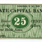 New Hampshire, Concord, State Capital Bank, 25 Cents, Nov 1, 1862