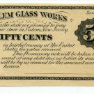 New Jersey, Salem, Salem Glass Works, 50 Cents, Sept 1st 18--, (1870s)