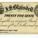 New Hampshire, Wentworth, J.S. Blaisdell, 25 Cents, Nov 1, 1862