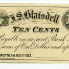New Hampshire, Wentworth, J.S. Blaisdell, 10 Cents, Nov 1, 1862