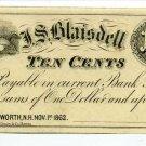 New Hampshire, Wentworth, J.S. Blaisdell, 10 Cents, Nov 1, 1862