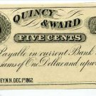 New Hampshire, Rumney, Quincy & Ward, 5 Cents, Dec 1, 1862