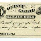 New Hampshire, Rumney, Quincy & Ward, 50 Cents, Dec 1, 1862