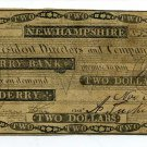 New Hampshire, Derry, Derry Bank, $2, Nov 2, 1842