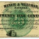 New York, Friendship, M.C. Mulkin, 25 Cents, Dec 1, 1862