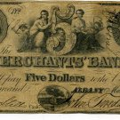 New York, Albany, Merchants Bank, $5, March 1, 1859