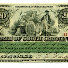 State of South Carolina, Columbia, $20, December 1, 1873