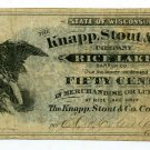 Wisconsin, Rice Lake, Barron County, Knapp, Stout & Co., 50 Cents, ND(1870s-80s)