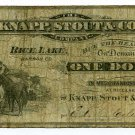 Wisconsin, Rice Lake, Barron County, Knapp, Stout & Co., 1 Dollar, ND(1870s-80s)
